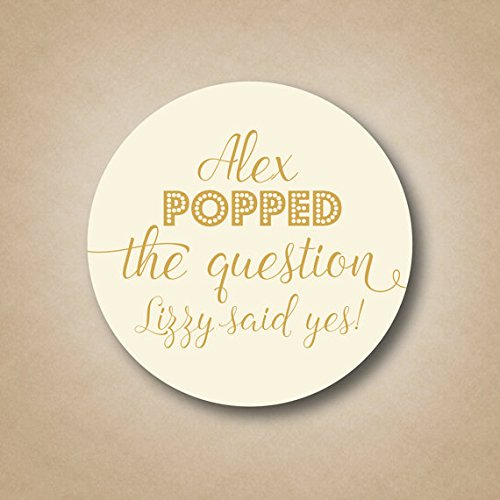 Popped the Question Stickers Popcorn Favor Labels Pop the Question Tags Custom Engagement Party Favors Popcorn Engagement Announcement ideas -