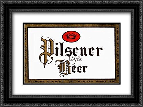 Pilsener Style Beer 2X Matted 24x18 Black Ornate Framed Art Print by Vintage Booze Labels