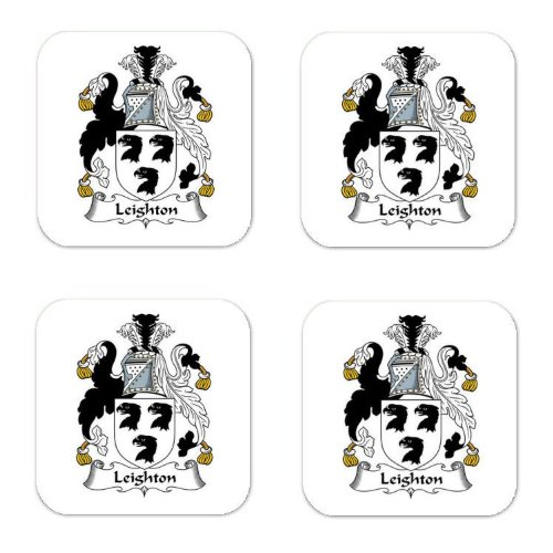 Leighton Family Crest Square Coasters Coat of Arms Coasters - Set of 4