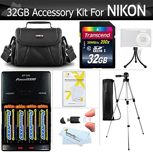 32GB Accessory Kit For Nikon Coolpix B500, L330, L340, L810 L820 L830 L840 Digital Camera Includes 32GB High Speed SD Memory Card + 4AA Rechargeable NIMH Batteries + Rapid Charger - Card 150x Memory Sdhc