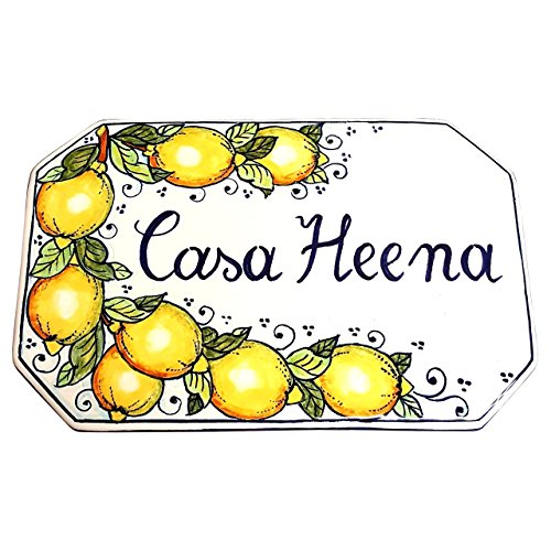CERAMICHE D'ARTE PARRINI - Italian Ceramic Art Pottery Tile Custom House Number Civic Address Plaques Decorated Lemons Hand Painted Made in ITALY Tuscan (Ceramic Address Plaque)