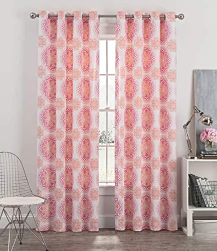 Blush Medallion (Newport Medallion 84 Inch Grommet Window Curtain Panel in Blush)