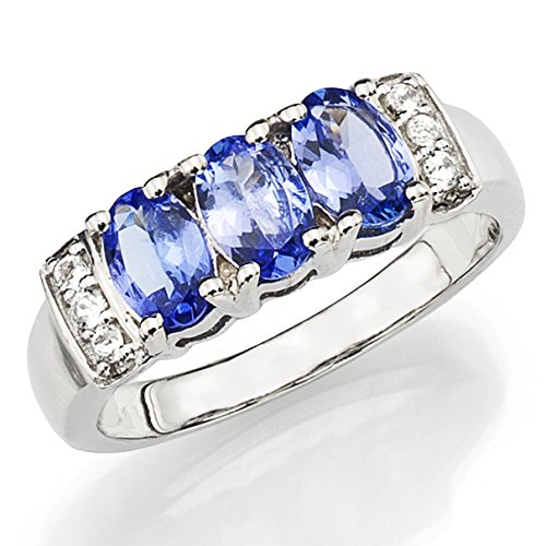 Sterling Silver Ring with 3 pcs Round Simulated Blue Tanzanite Between 6 pcs Simulated Topaz, Size 7