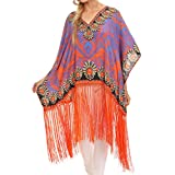Sakkas Keagan Mid Length Poncho Blouse Shirt Top With Fringe And Tribal Print