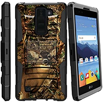 [LG K8V Case (Verizon) VS550][Clip Armor]- Hard Rugged Shell, Silicone Bumper with Kickstand and Holster by MINITURTLE - Deer Hunting Camo