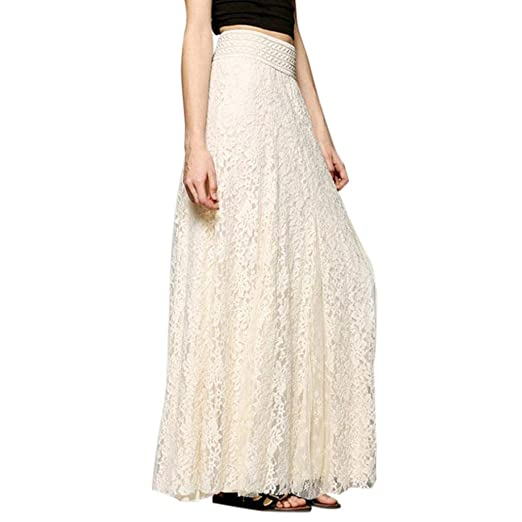 a8be5669d321db Women Lace Double Layered Pleated Long Maxi Skirt Elastic Waist Elegant  Skirt Beige