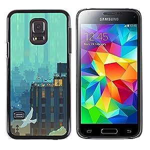 Caucho caso de Shell duro de la cubierta de accesorios de protección BY RAYDREAMMM - Samsung Galaxy S5 Mini, SM-G800 - Pixel Paisaje urbano