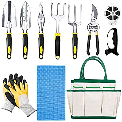 HOMENOTE 11 Pieces Garden Tools Set - Gardening Tools with Gloves and Knee Pads - Garden Hand Tools with Storage Tote and 50m Bind Line- Gardeners Kit - Gardening Gifts for Women and Men
