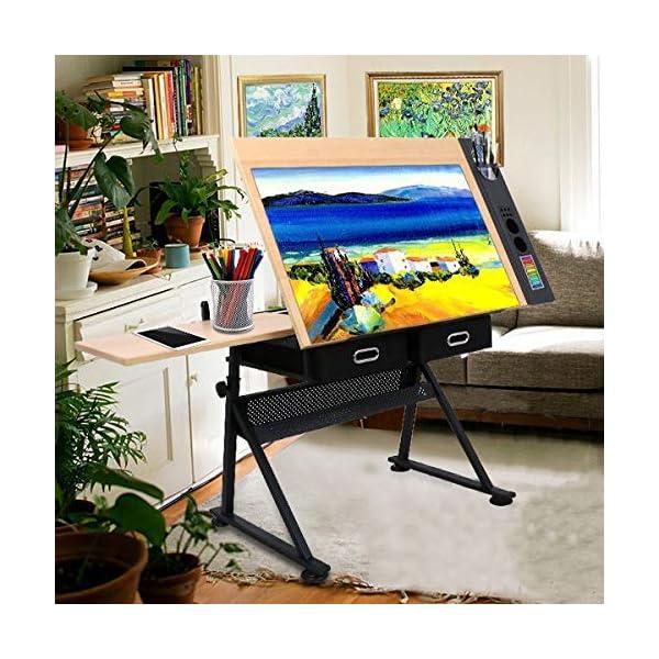 D4P Display4top inclinabile da Tavolo redazione Disegno scrivania Regolabile in Altezza e Due cassetti per Disegno… 7 spesavip