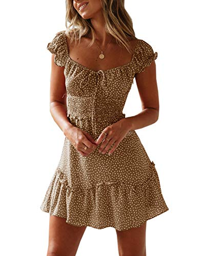 Yobecho Womens Summer Ruffle Sleeve Sweetheart Neckline Printing Dress (X-Large, Khaki) ()