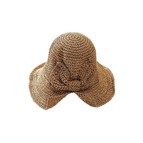 lightclub Summer Handmade Woven Bow Sun Hat Floppy Brimmed Women Girl Straw Bucket Cap Khaki (Floppy Hat With Bow For Women)