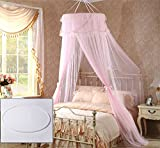 Royal- Dome mosquito net Encryption thickening Home Double bed Exempt from installation Princess style Pink ( Size : Top diameter 70cm )