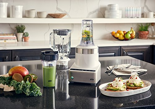 Braun JB7352 WHS PureMix Power Countertop Blender With Glass Jug & Smoothie2Go Cups, 56 fl. oz, White