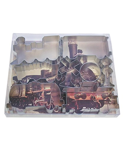 R&M International 1841 Train Cookie Cutters, Engine, Caboose, 3 Rail Cars and 3 Signs, 8-Piece (Thomas The Train Cookie Cutter)