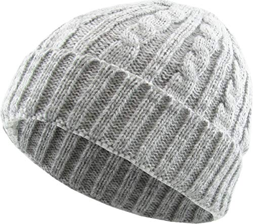 KBW-245 WHT Heather Color Thick Cable Knit Beanie Skull Cap Unisex Winter Hat