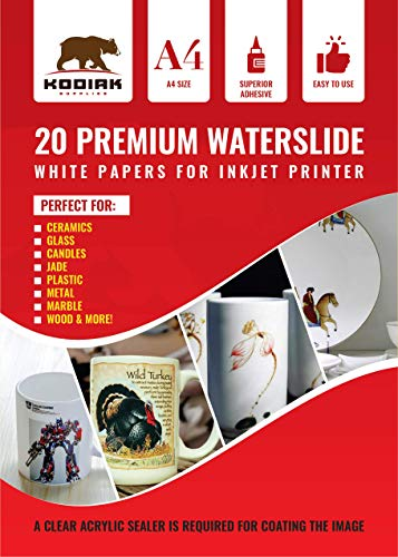 Kodiak Supplies A4 Waterslide Decal Paper INKJET WHITE - 20 Sheets - DIY A4 water slide Transfer WHITE Printable Water Slide Decals A4 20 Sheets (White)