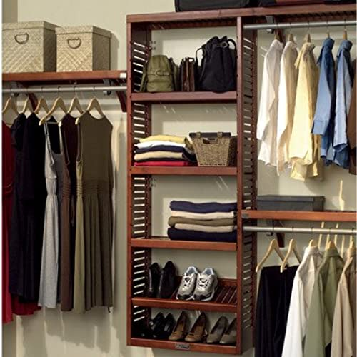 John Louis Home JLH 529 Premier 12 Inch Deep Closet Shelving System, Red  Mahogany