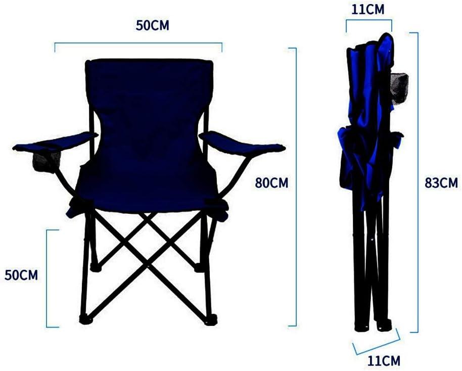 Chaise de camping, pêche portable Siège avec porte-gobelet, Cooler, Pouches, pliant, polyester (Color : E)