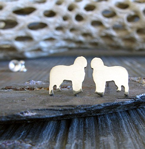 Old English Sheepdog Earrings - Old English Sheepdog dog tiny stud earrings polished sterling silver. Handmade in the USA.