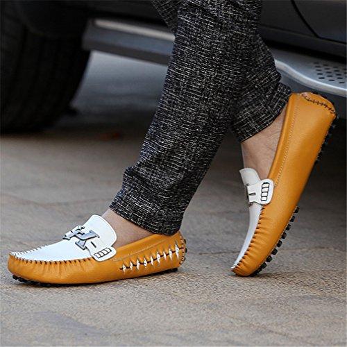 de genuino conducción de Loafers Mocasines Bridfa Slipon Zapatos Yellow Alpargatas Men azul cuero de de hombre lujo hombre de Zapatos Rt8qPqxwX