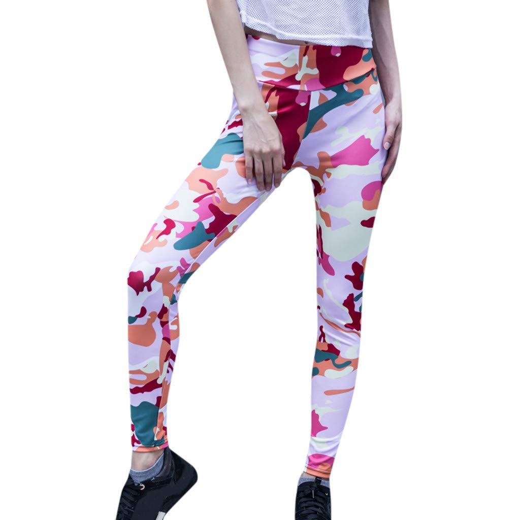 Yoga Pants for Women,Ruched High Waist Butt Lift Camouflage Leggings Workout Sport Pants Hip Push up Tights Yamally