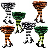 Blulu 6 Pieces Halloween Witch's Boot Shaped Tissue Paper Pom Poms Flowers Balls Halloween Party Hanging Decorations