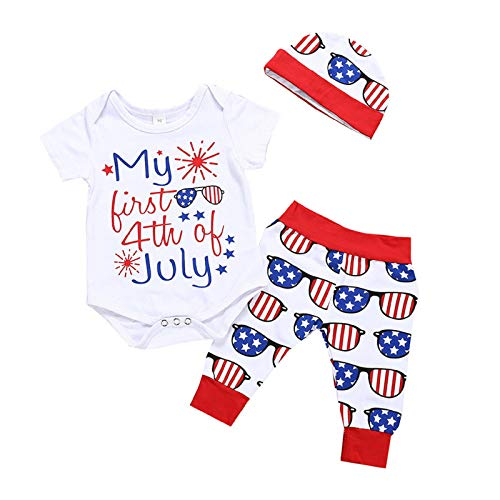 (3PCS Baby Cute 4th of July Printed Short Bodysuits Top & Star Stripe Pant + Hat Outfits American Flag Outfits Clothes)