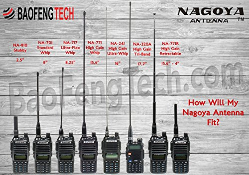 Authentic Genuine Nagoya NA-320A Triband HT Antenna 2M-1 25M-70CM  (144-220-440Mhz) Antenna SMA-Female for BTECH and BaoFeng Radios
