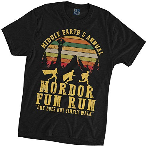 Middle Earth's Annual Mordor Fun Run One Does Not Simply Walk Lord of The Ring Vintage T-Shirt Black