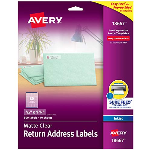 "Avery Matte Frosted Clear Return Address Labels for Inkjet Printers, 1/2"" x 1-3/4"", 800 Labels (18667)"