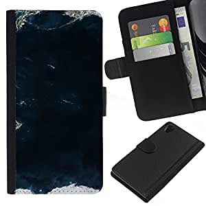 KingStore / Leather Etui en cuir / Sony Xperia Z2 D6502 / Vista al mar Ocean Waves Tierra;