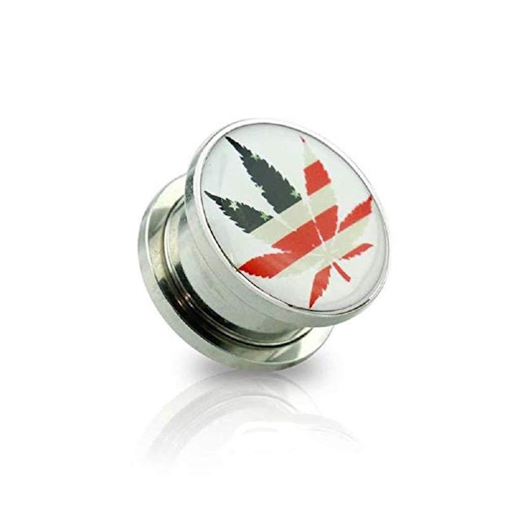 Covet Jewelry U.S Flag Pot Leaf Print 316L Surgical Steel Screw Fit Plug