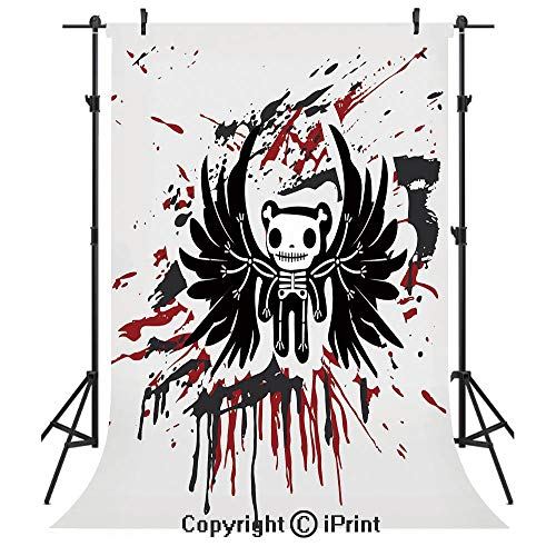 Halloween Photography Backdrops,Teddy Bones with Skull Face and Wings Dead Humor Funny Comic Terror Design,Birthday Party Seamless Photo Studio Booth Background Banner 5x7ft,Pearl Black Ruby -