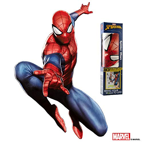 Marvel Spider-Man Wall Decal - Augmented Reality Spiderman Wall Decals For Bedroom - Avengers Bedroom Wall Decor - Sticker For Wall Decoration For Kid's - Wall Fathead Sticker