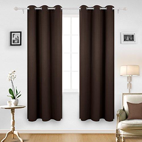 Deconovo Room Darkening Thermal Insulated Blackout Grommet Window Curtain for Bedroom, Chocolate,42x84-inch,1 Panel