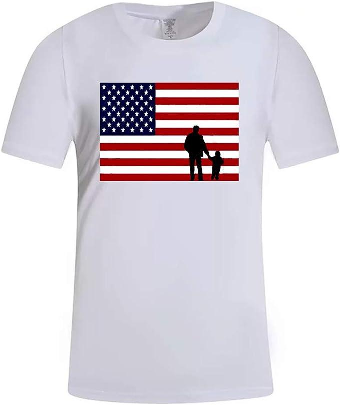 Wancooy❤️ Playera de Manga Corta para Hombre, con la Bandera de Estados Unidos, para el día del Padre, para Deportes, Fitness, Manga Corta Blanco Blanco L: Amazon.es: Ropa y accesorios
