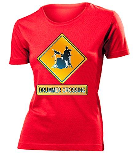 DRUMMER CROSSING mujer camiseta Tamaño S to XXL varios colores Rojo / Blanco