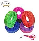 Block Tape for Kids Lego Toys,Building Block Tape 6 Rolls 33ft/Roll Self-Adhesive Brick Base Plates Non-Toxic Safe Reusable Silicone Tapes for Kids Christmas Birthday Gift