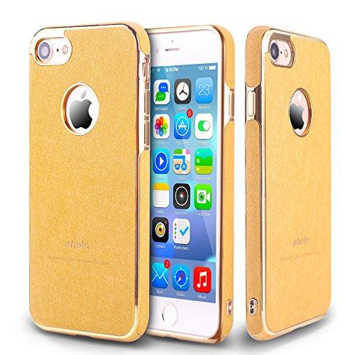 Case for Apple iPhone 7 Gold Lether Dual Layer Design for Girls&Body&Women&Men with Screen Protector Tempered Glass (White)