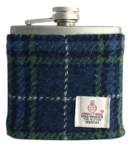 Harris Tweed Hip Flask 6oz - St Andrews Plaid Design Hand Made in Scotland