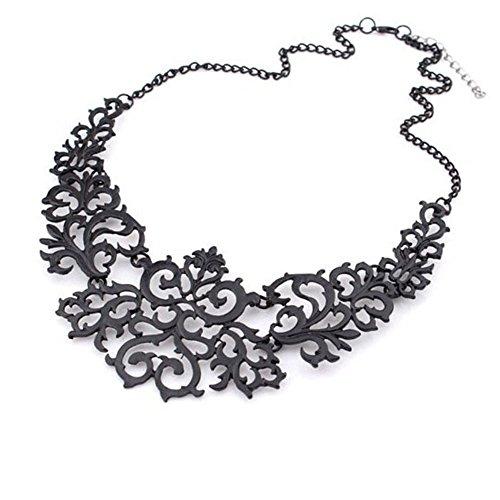 LLNF Hollow Flower Pattern Chunky Collar Choker Statement Bib Necklace for Women, 18'' (Flower Hollow Pattern)
