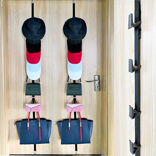 Fullsexy Cap Rack, Baseball Cap Holder, Hat Organizer Storage Hanger Display, Holds up to 16 Caps for Baseball Hats, Ball Caps, Set of 2 (Black) by Fullsexy