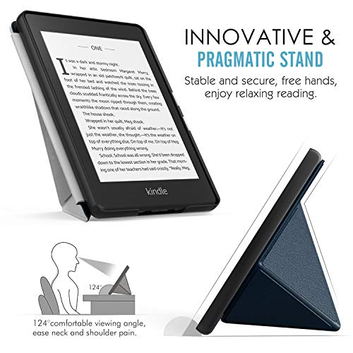 MoKo Case Compatible with Kindle Paperwhite (10th Generation, 2018 Releases), Standing Origami Slim Shell Cover with Auto Wake/Sleep Fits Amazon Kindle Paperwhite E-Reader - Indigo