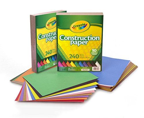 Crayola Construction Paper, 480 Count, 2-Packs of 240 Each, 10 Different Colors JungleDealsBlog.com