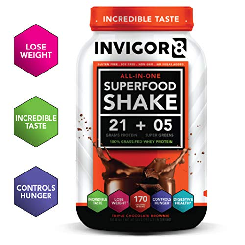 INVIGOR8 Superfood Shake Gluten-Free and Non GMO Meal Replacement Grass-Fed Whey Protein Shake with Probiotics and Omega 3 (645g) ... (Chocolate Brownie)
