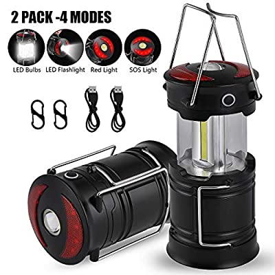 MOICO 2 Pack LED Camping Lantern, Rechargeable 4 Modes Camping Lights, 500 Lumen, Collapsible, Water Resistant Light, Battery-Powered Lanterns for Camping Outdoor Hurricane Outage& Emergency