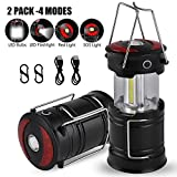 7. MOICO 2 Pack LED Camping Lantern, Rechargeable 4 Modes Camping Lights, 500 Lumen, Collapsible, Water Resistant Light, Battery-Powered Lanterns for Camping Outdoor Hurricane Outage& Emergency