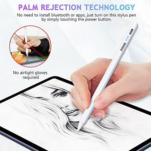 Stylus Pen for IPad Pencil with Rechargeable Palm Rejection, Active Pen Compatible with Apple Pencil 2 Generation with Magnetic Tilting Without Bluetooth Connection for Sketch/Writing/Drawing