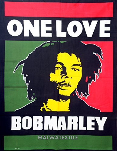 Bob Marley One Love Cotton Wall Hanging Tapestry Poster Wall Decor,Home Art Yoga Poster 30x40 Inch -Malwa Textile