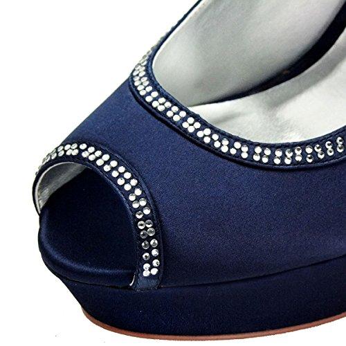 ElegantPark HP1503P Zapatos de tacón Punta abierta Plataforma raso fiesta zapatos de novia Mujer Blu Navy